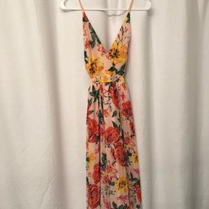 Express - Floral Cut-Out Lace-Up Back Maxi Dress